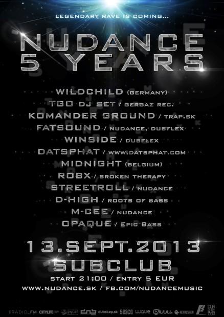 Piate veľkolepé narodeniny Nudance Music sa uskutočnia v Subclube!